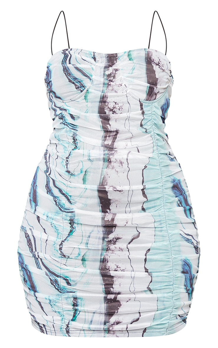 Plus White Marble Print Ruched Mesh Cup Detail Bodycon Dress 5