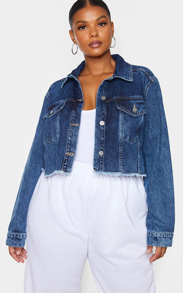 Plus Mid Blue Washed Denim Crop Jacket 1