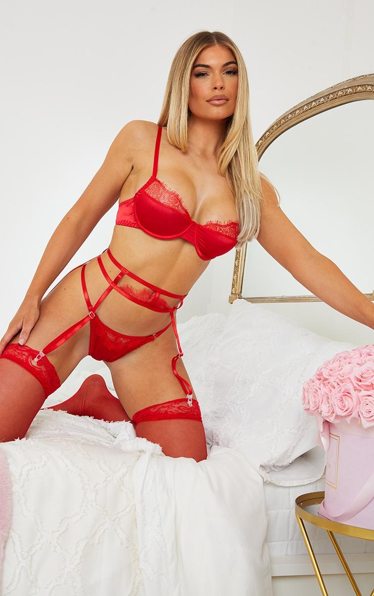 Red Lace Suspender Detail 3 Piece Lingerie Set 1
