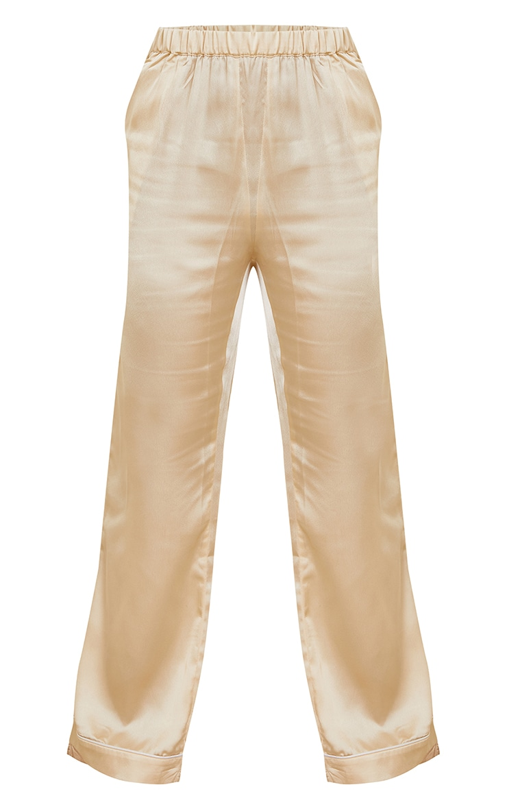 Champagne Mix And Match Piped Detail Satin PJ Pants 5