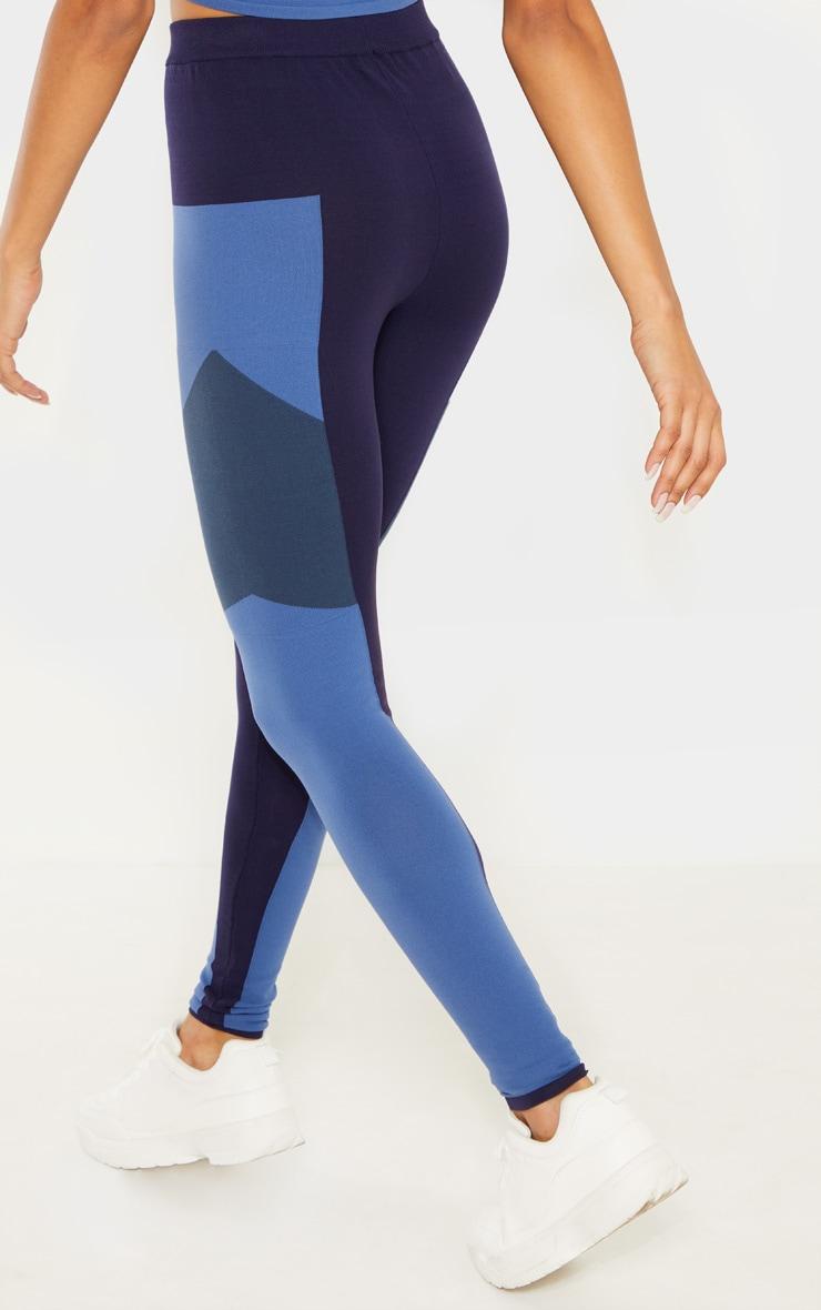 Blue Seamless Knit Gym Legging 3
