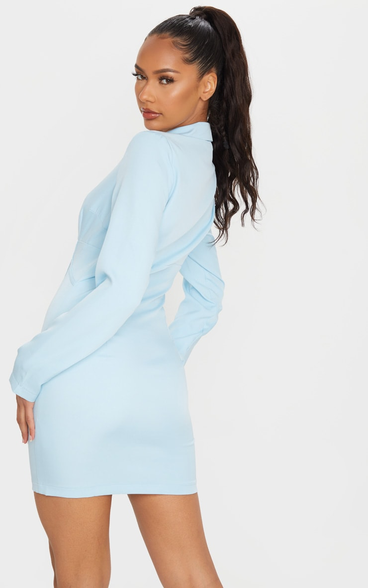 Baby Blue Long Sleeve Corset Lace Up Blazer Style Bodycon Dress 2