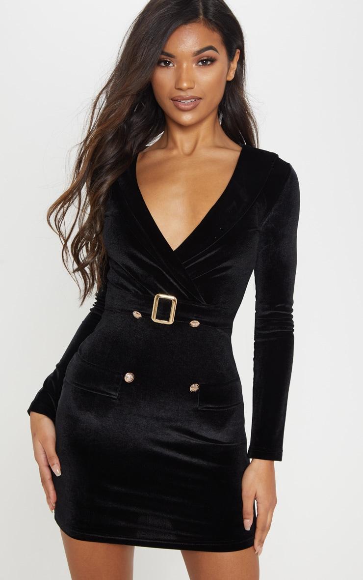 5b8cd9e9088 Black Velvet Gold Button Buckle Detail Blazer Dress image 1