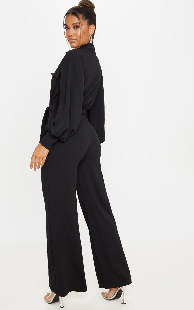 Black Oversized Shirt Style Tie Waist Jumpsuit 2