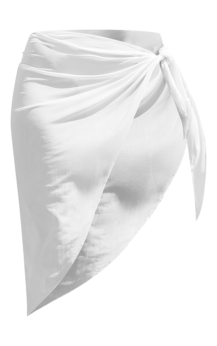 White Mesh Asymmetric Tie Side Beach Sarong 6