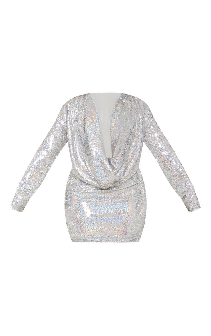 Plus Silver Sequin Cowl Neck Bodycon Dress 4