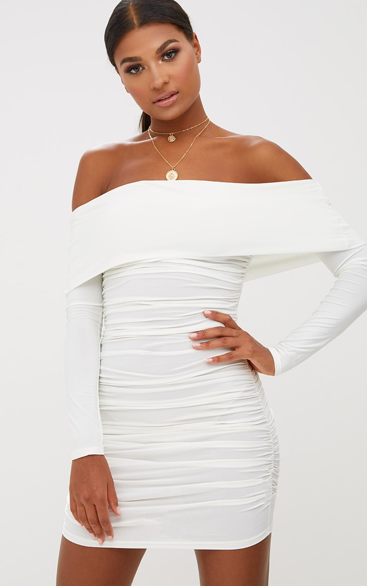 White Long Sleeve Bardot Ruched Bodycon Dress