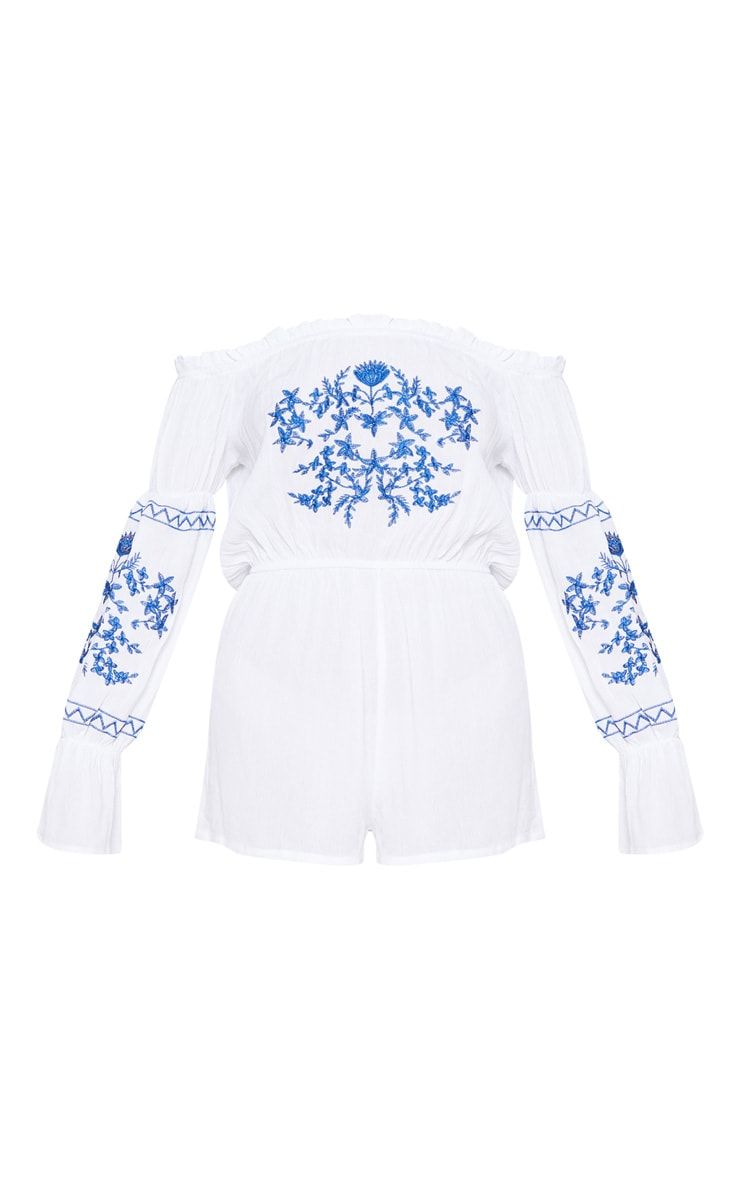 White Bardot Embroidered Playsuit 3