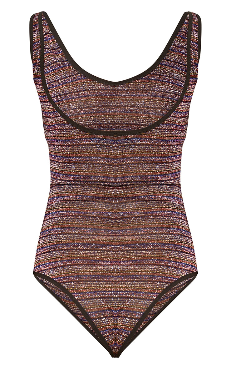 Multi Glitter Stripe Drop Back Thong Bodysuit 4