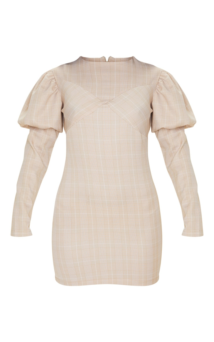 Beige Check Long Sleeve Puff Shoulder Bodycon Dress 3