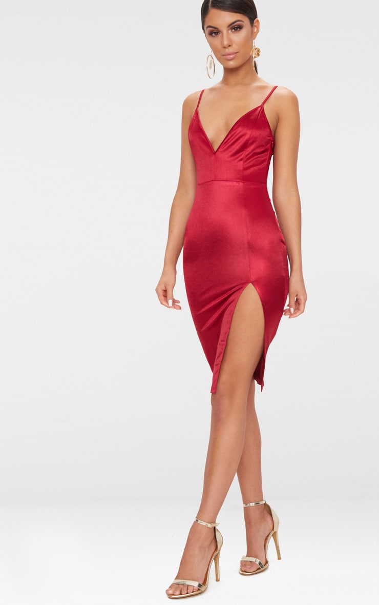 Dark Red Satin Extreme Split Plunge Midi Dress  4
