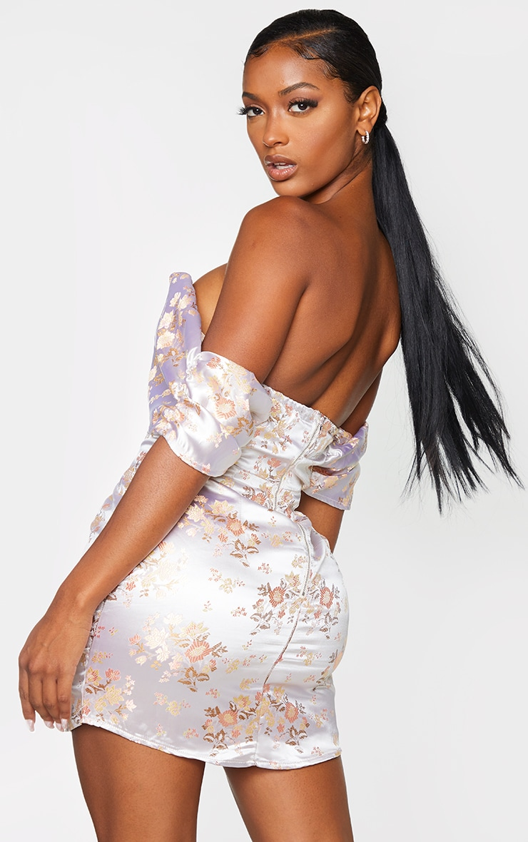 Shape White Floral Bardot Bodycon Dress 2