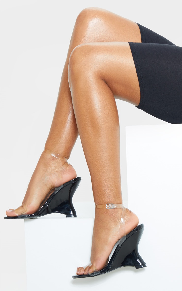 Black Patent Clear Strap Wedge 1