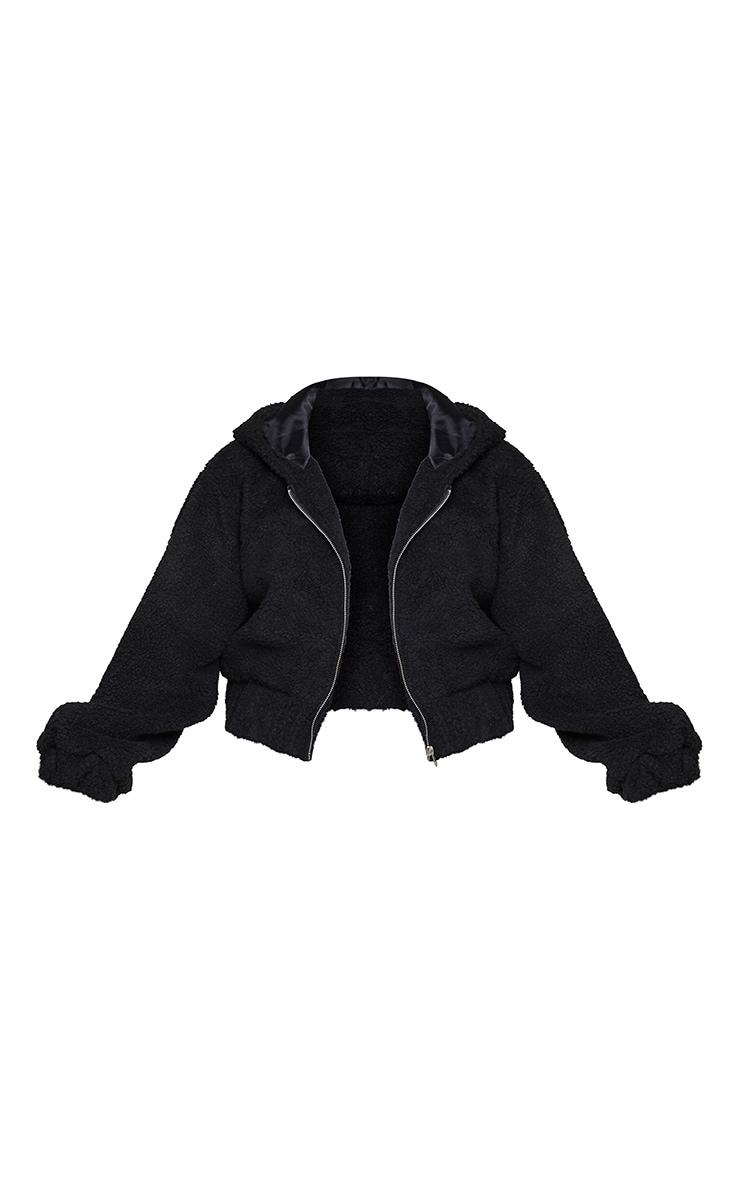 Plus Black Borg Hooded Zip Through Jacket 5