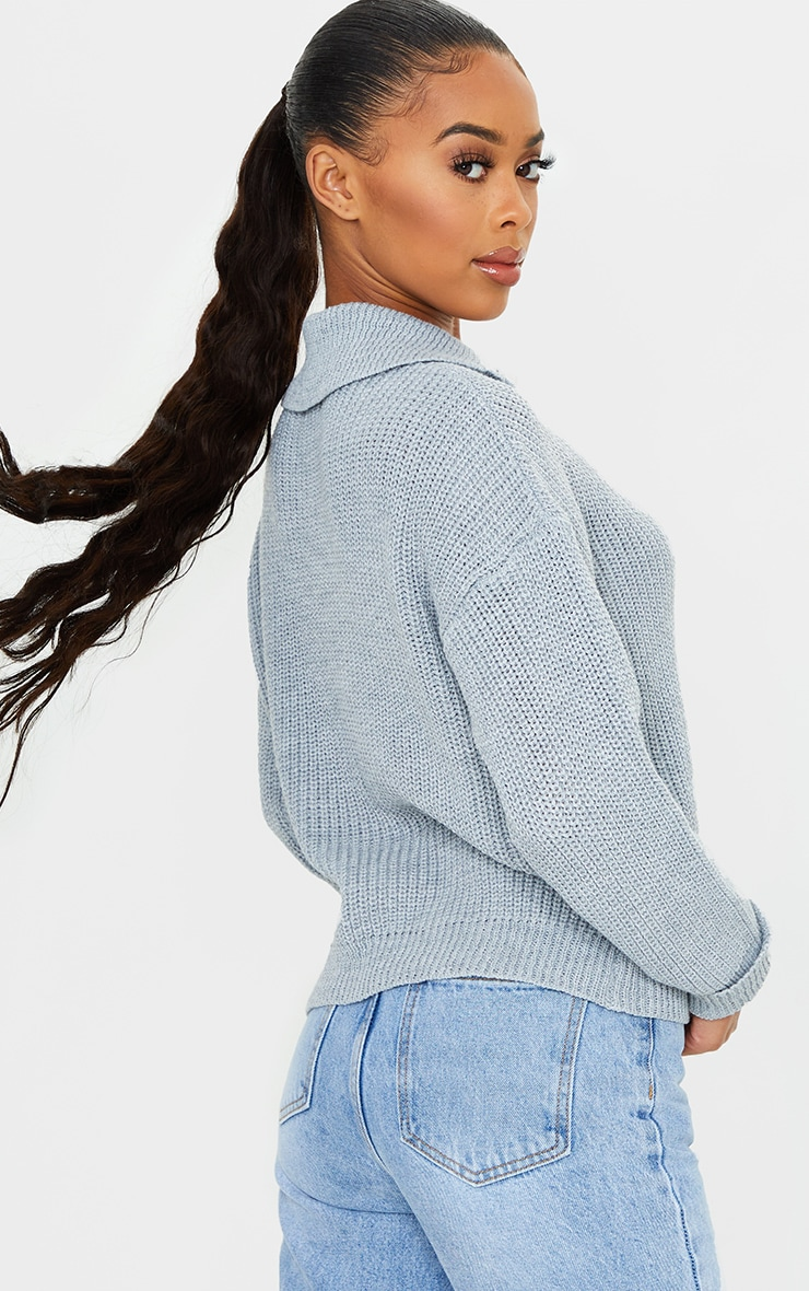 Grey Zip Through Oversized Knitted Sweater 2