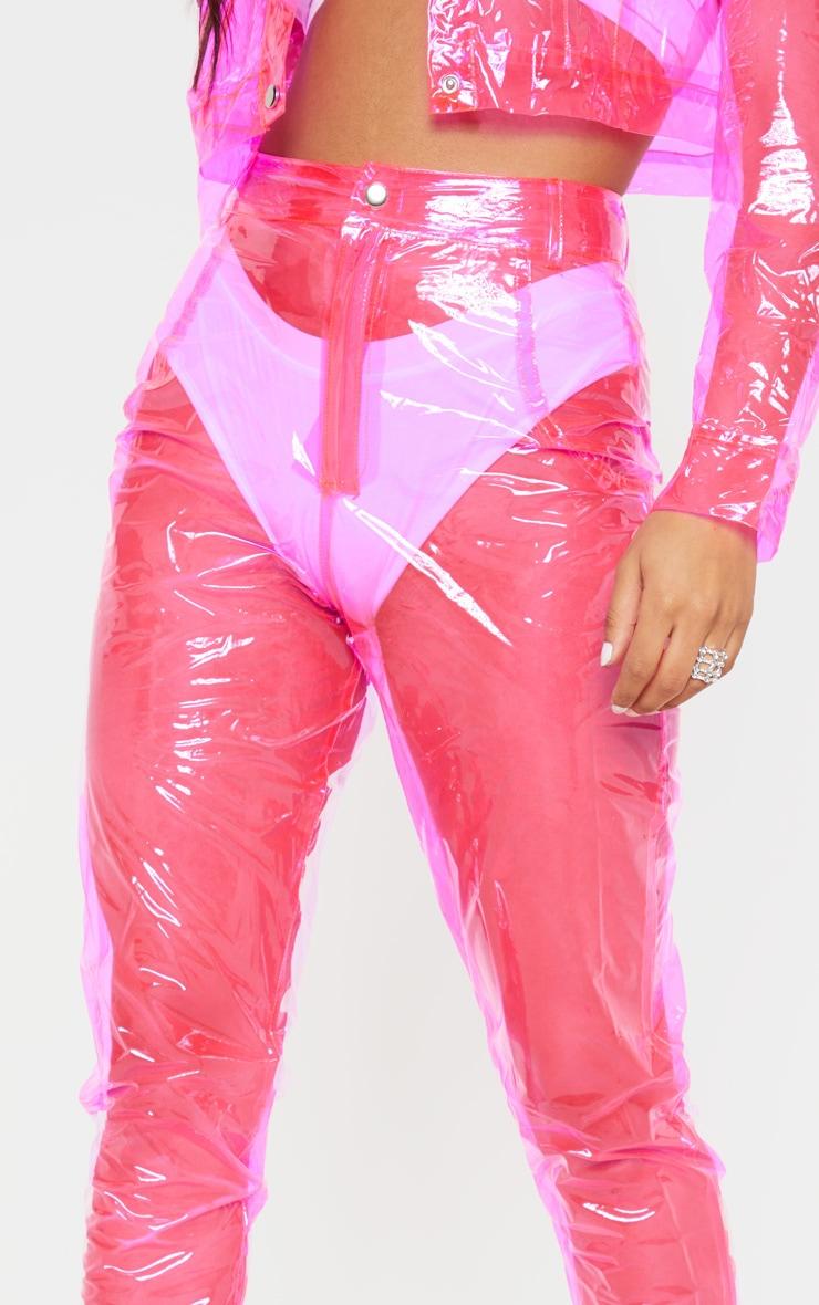 Hot Pink Transparent Straight Leg Trouser 5