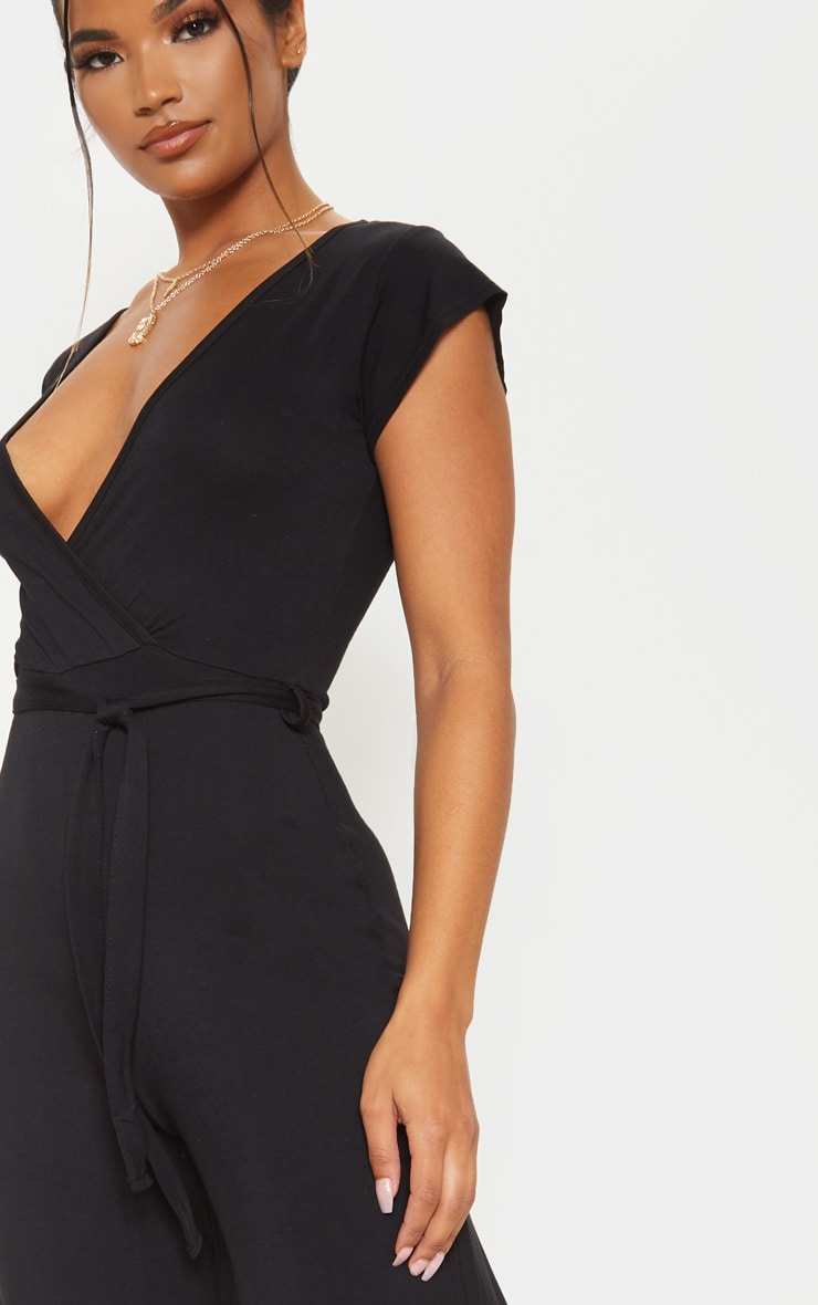 Black Wrap Culotte Jumpsuit 5