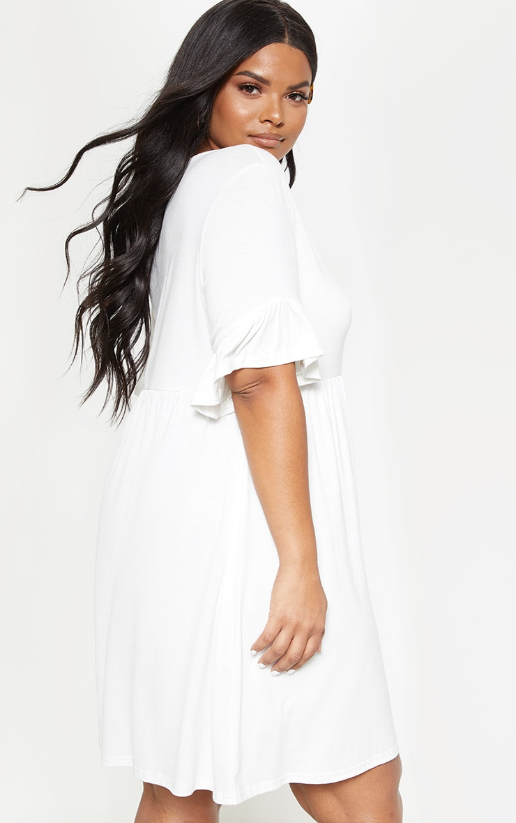 Plus White Frill Detail Smock Dress 2