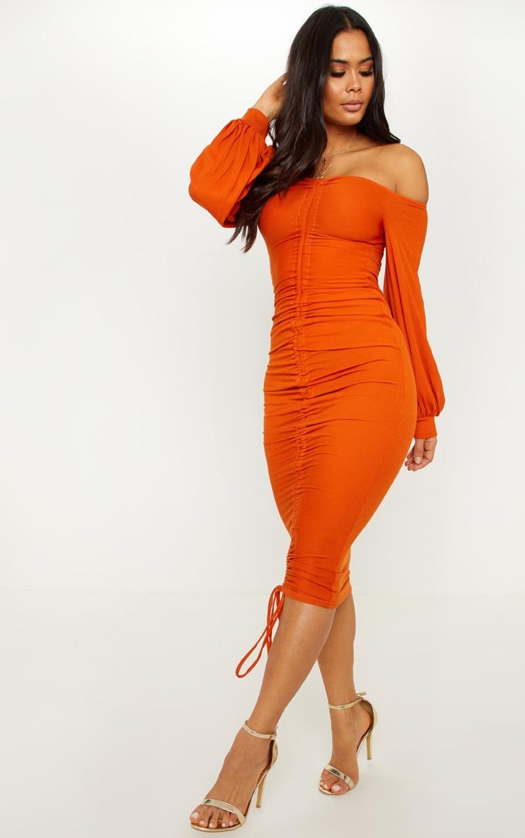 Burnt Orange Ribbed Balloon Sleeve Ruched Midi Dress 4