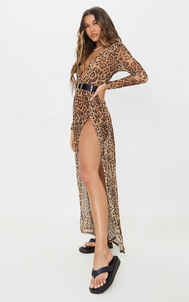 Brown Leopard Print Sheer Mesh Plunge Long Sleeve Split Maxi Dress 3