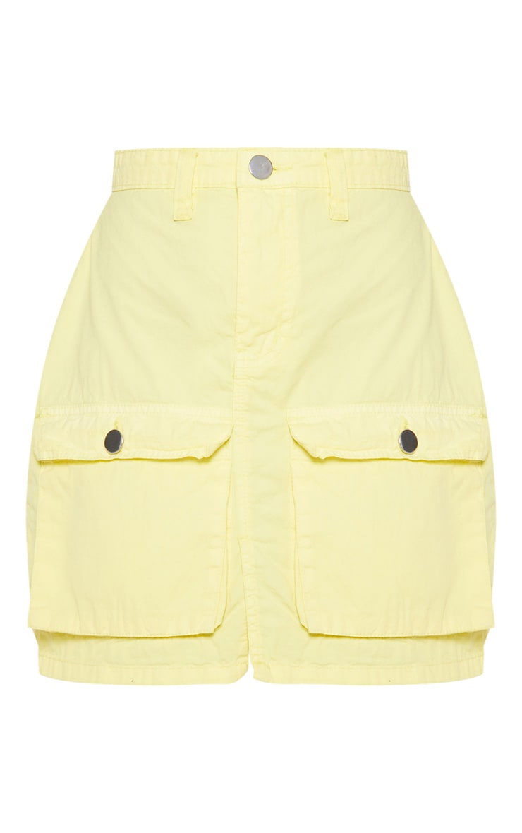 Yellow Neon Pocket Detail Denim Skirt  2
