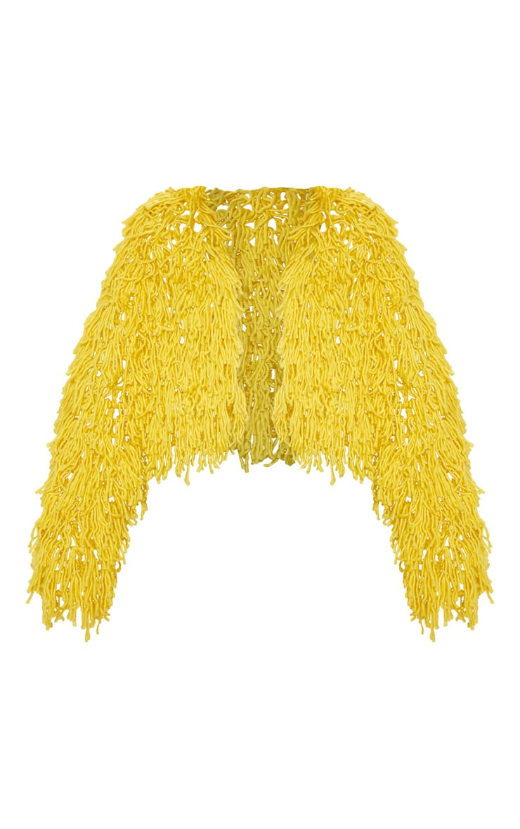 Mustard Shaggy Knit Cropped Cardigan 3