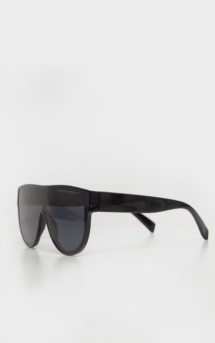 Black Tinted Oversized Flat Top Sunglasses 3