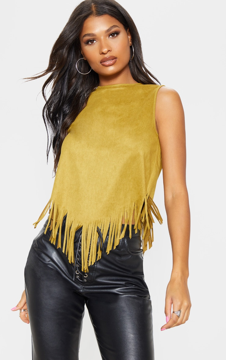 Tan Faux Suede Tassel Hem Sleeve Top 1