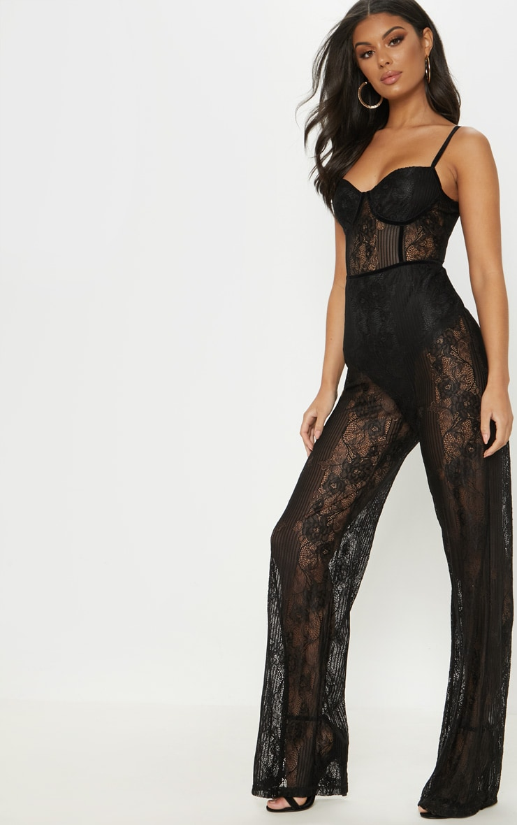 Black Lace Sheer Velvet Piped Jumpsuit 4