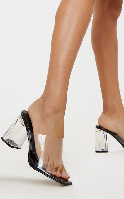 Black Clear Block Heel Mule