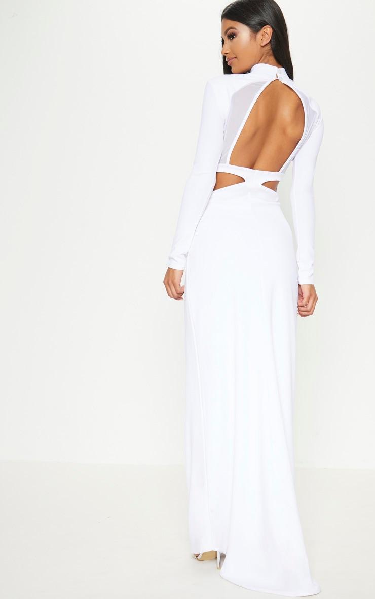 White Mesh Cut Out Back Detail Maxi Dress 1