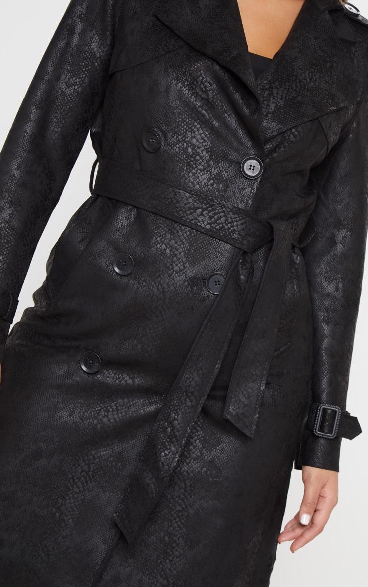 Black Snakeskin Trench Coat 5