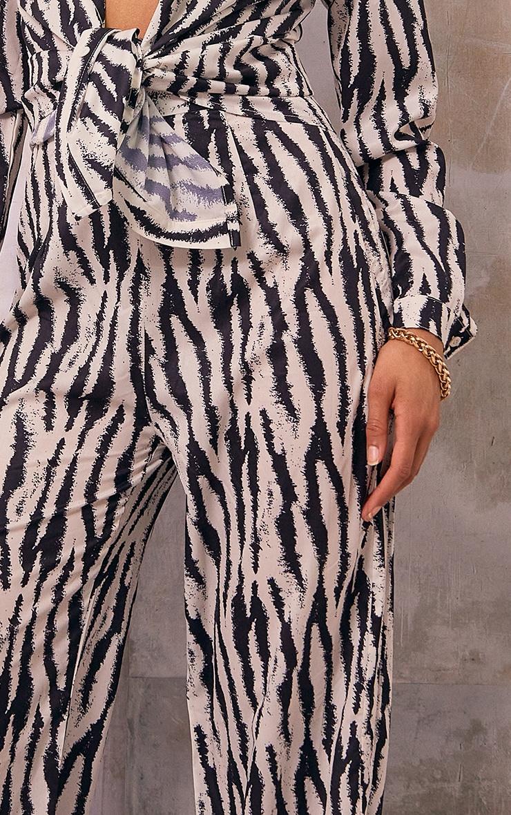 Black Zebra Print Wide Leg Pants 4