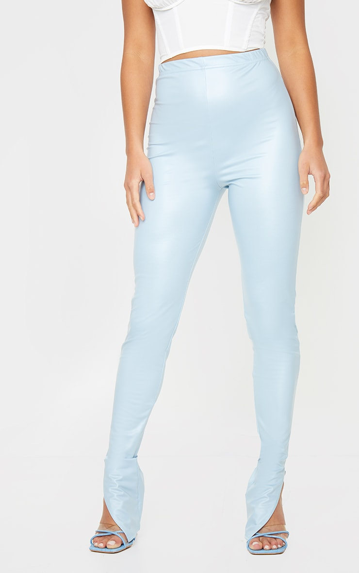 Petite Baby Blue Split Hem Coated PU Leggings 2