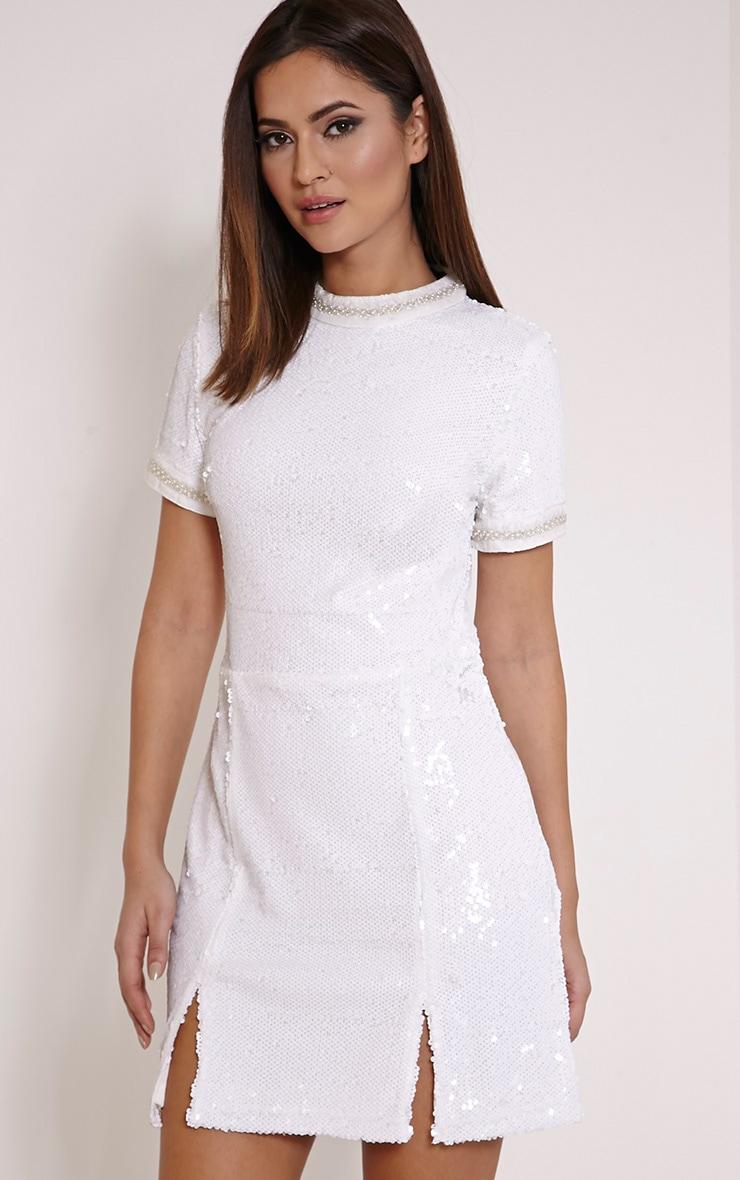 Seraphine White Bead Trim Sequin A Line Dress 4