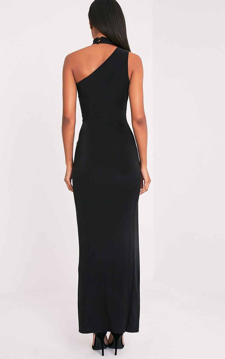 Jiya Black Slinky Choker Neck Maxi Dress 2