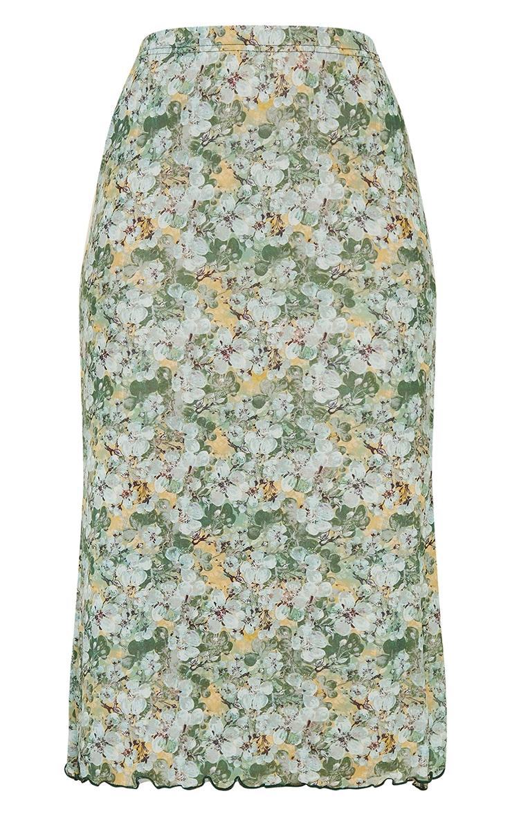Green Floral Mesh Midi Skirt 5