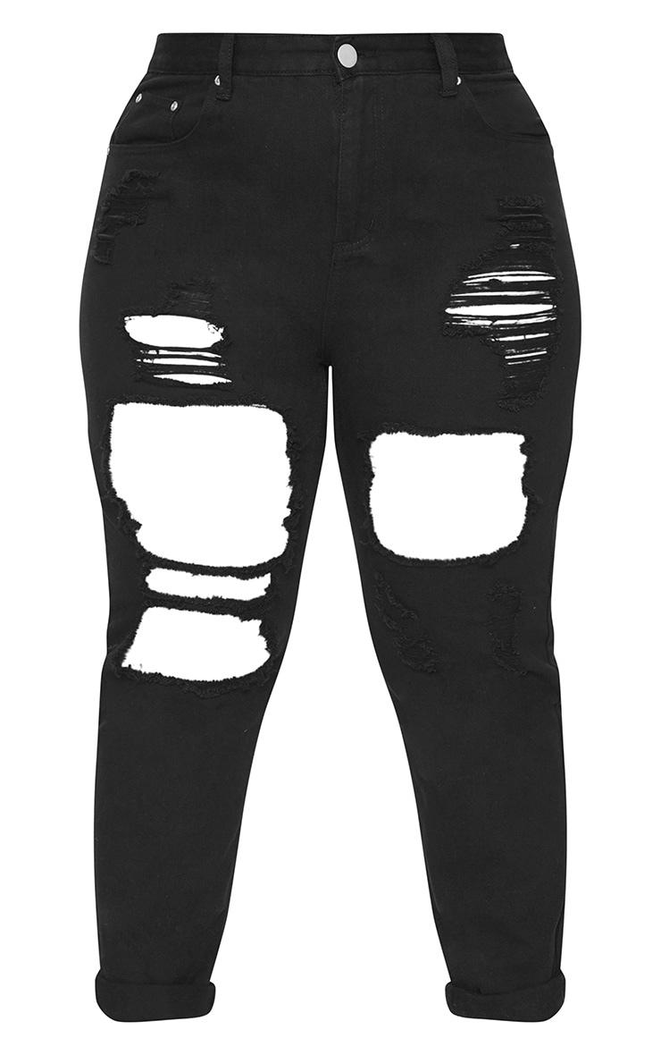 Plus Black Extreme Rip Mom Jeans 3