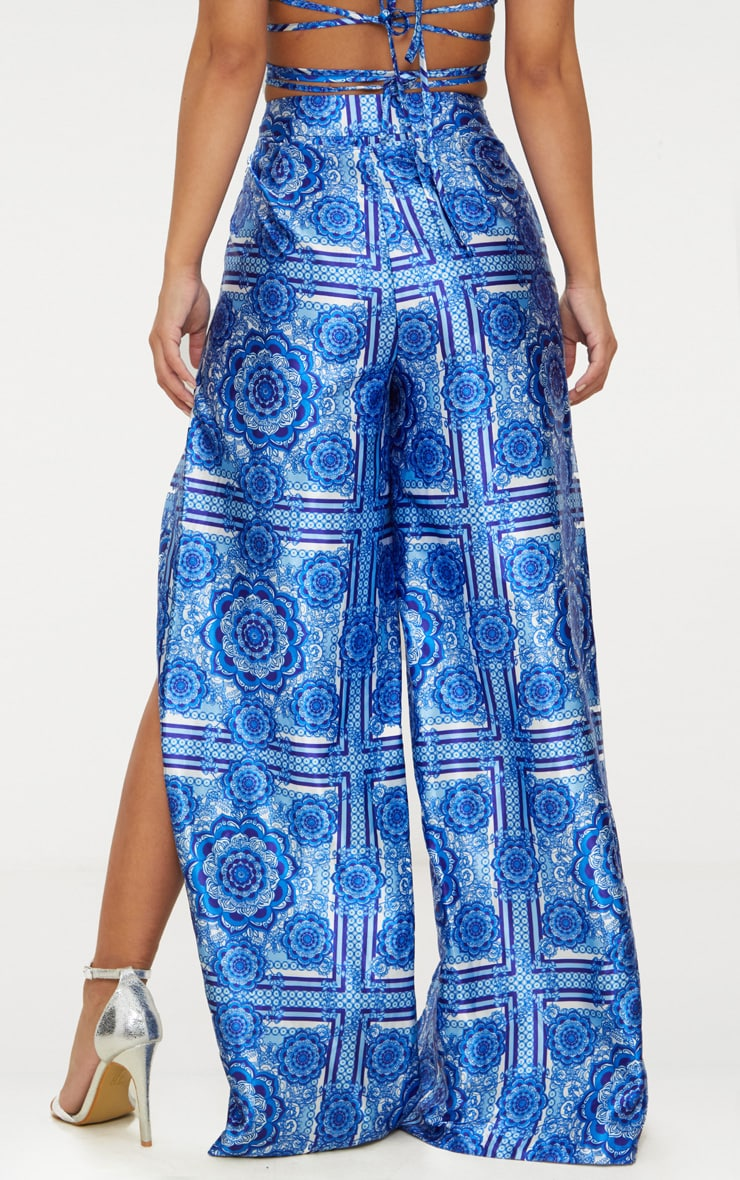 Petite Blue Printed Wide Leg Trousers 4