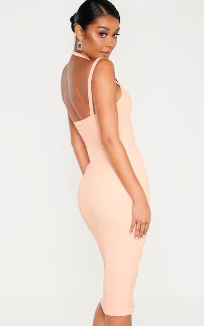 Peach Bandage Rib Binding Detail Strappy Midi Dress
