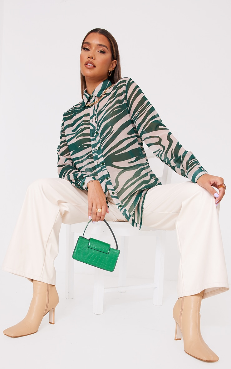 Khaki Zebra Print Chiffon Oversized Shirt 3