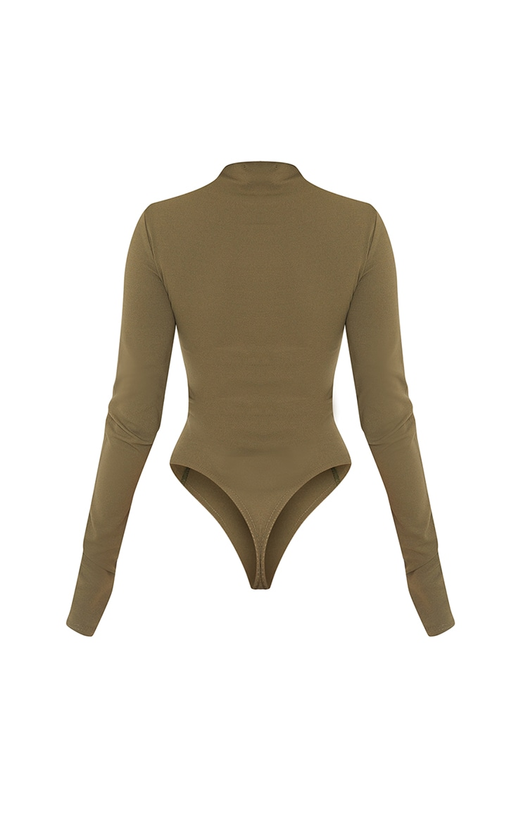 Khaki High Neck Underbust Seam Detail Long Sleeve Bodysuit 6
