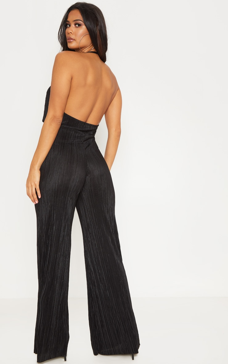 Black Pleated Cowl Neck Cut Out Detail Jumpsuit 2