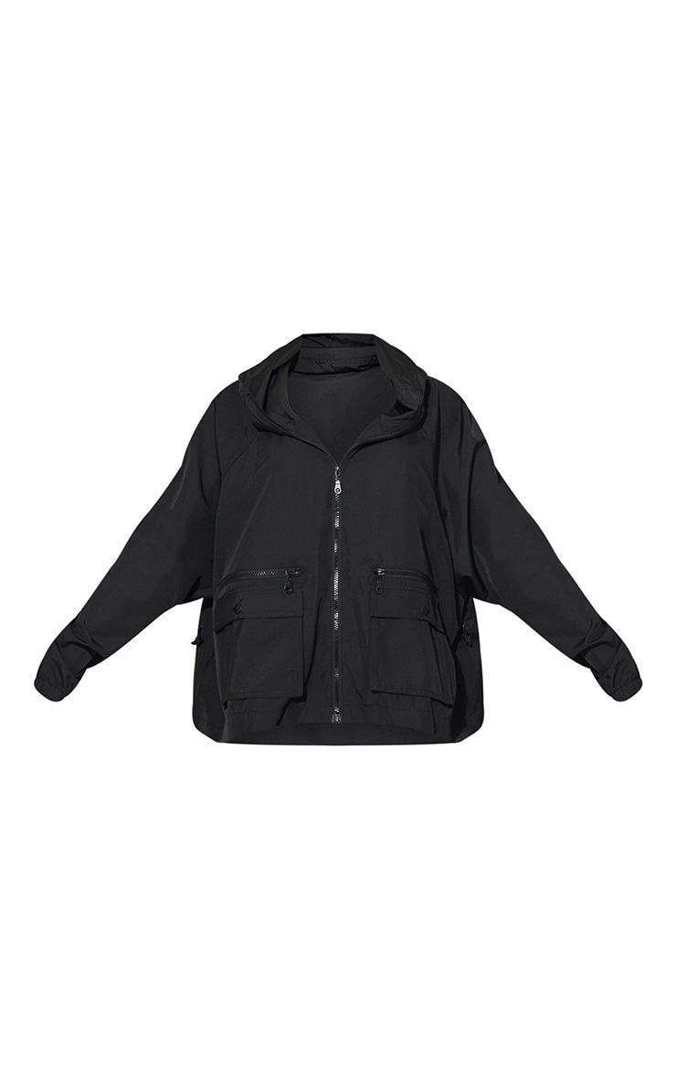 Black Nylon Pocket Front Zip Detail Tracksuit Jacket 5