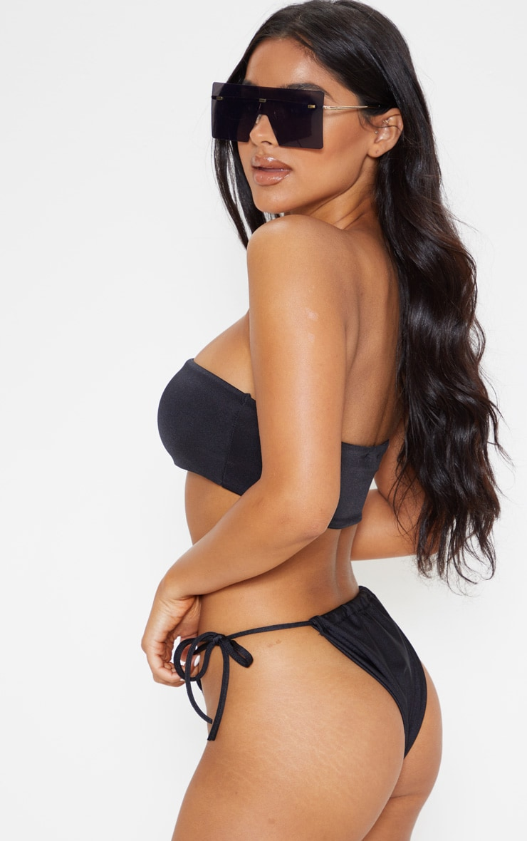 Petite Black Mix & Match Bandeau Bikini Top 2