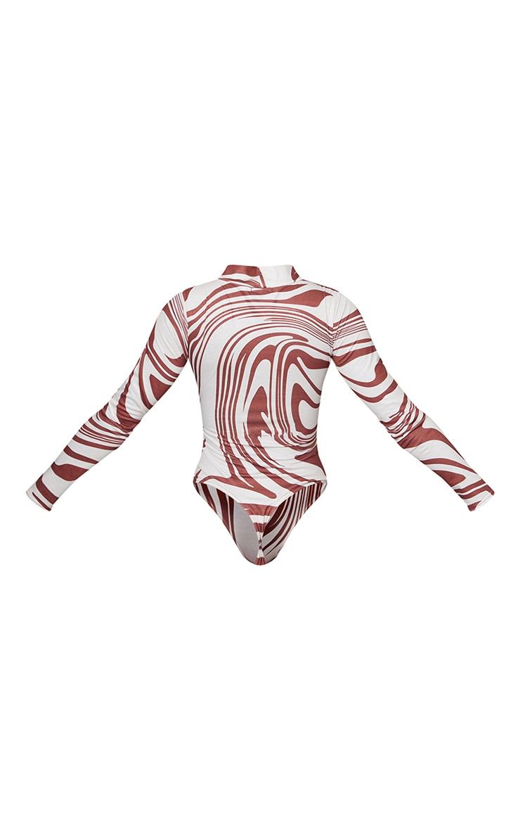 Brown Zebra Swirl Printed High Neck Long Sleeve Bodysuit 6