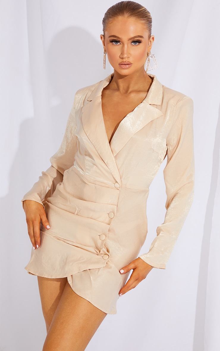 Champagne Satin Button Draped Blazer Dress 3