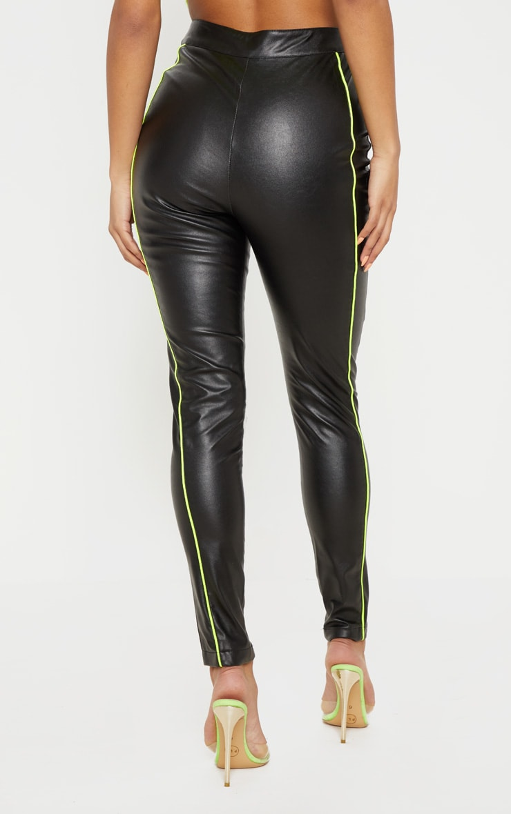 Black Faux Leather Contrast Neon Binding Skinny Trouser 4