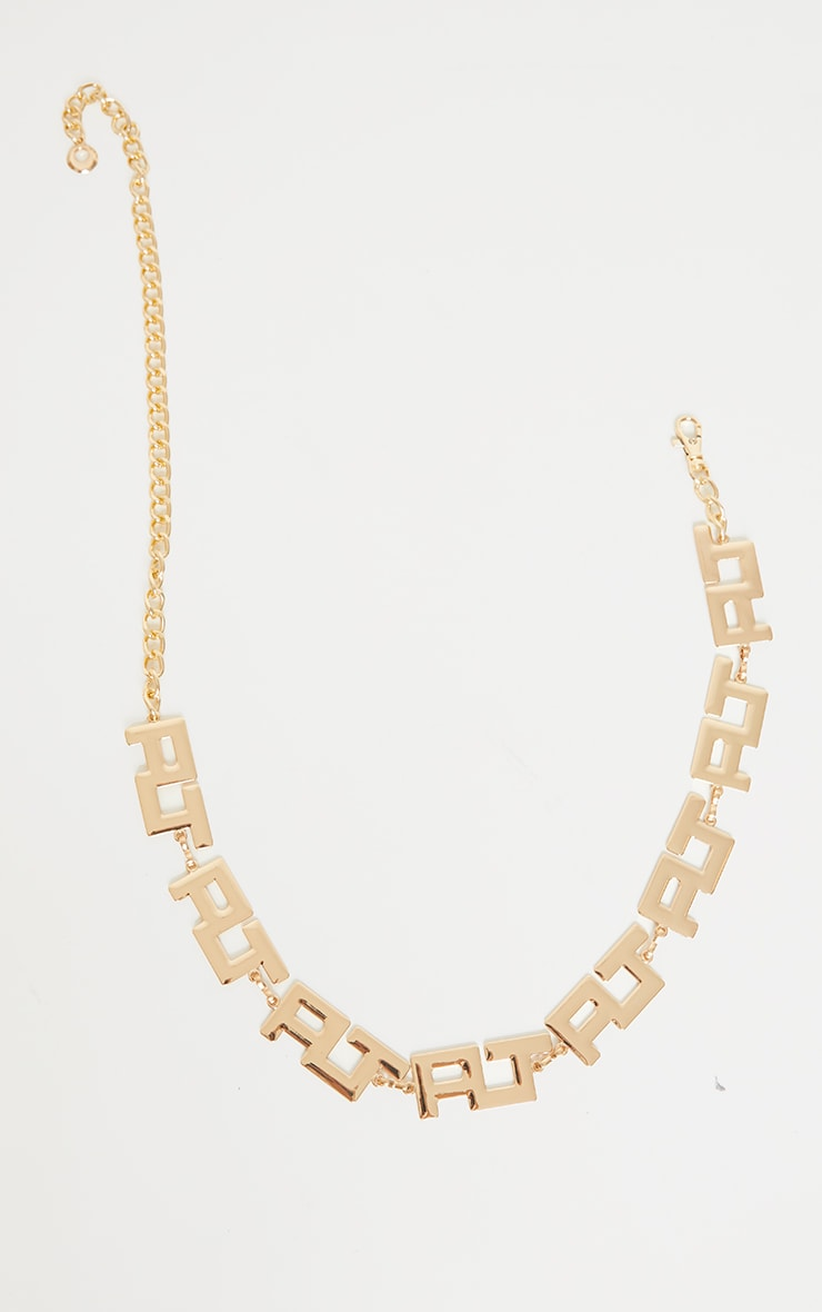 PRETTYLITTLETHING Initial Gold Chain Belt 2