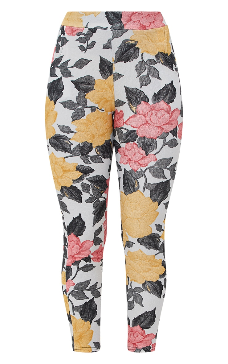 Grey Large Floral Skinny Trousers 3